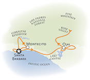 Santa Barabara and Ojai biking map